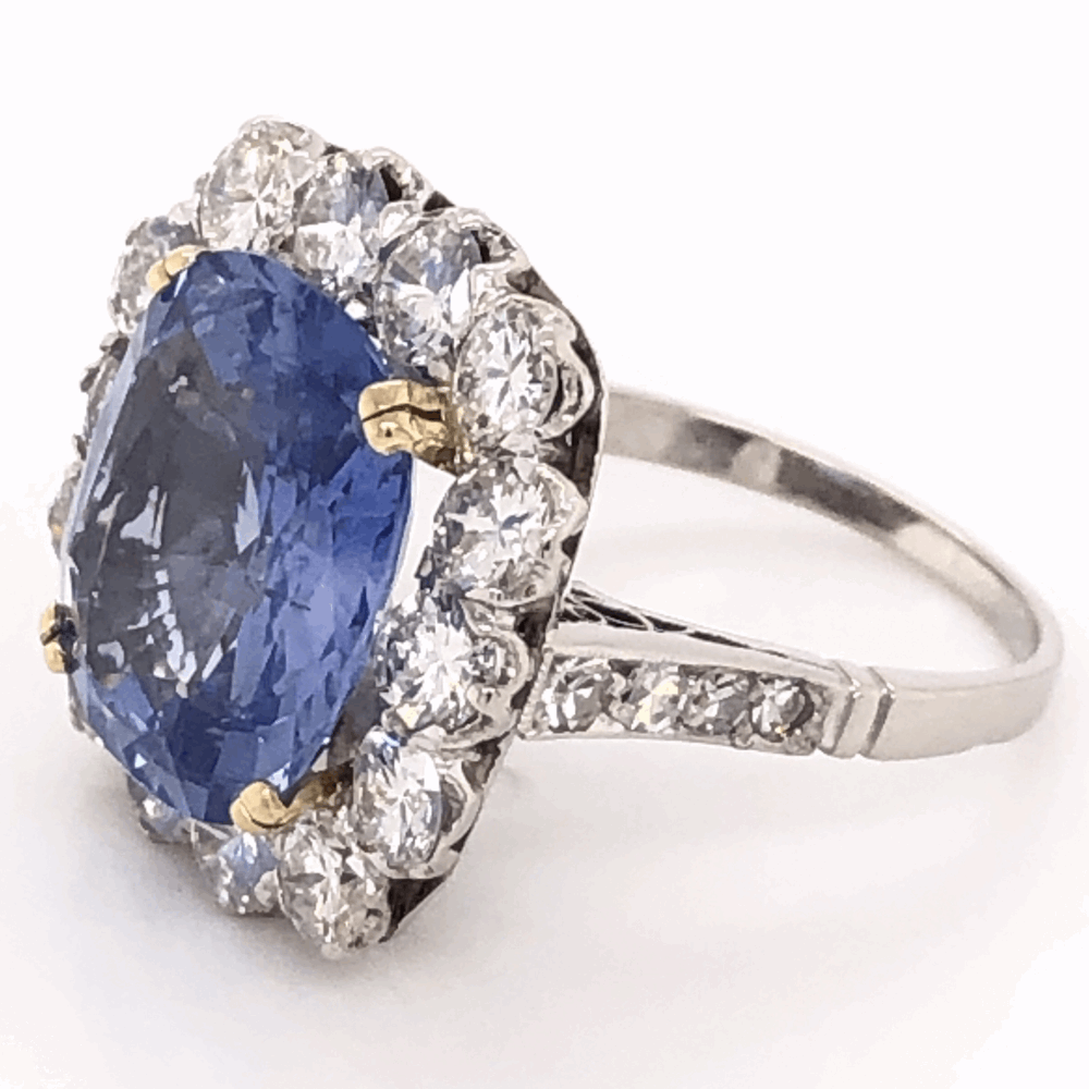 Image 2 for Platinum Art Deco 6.97ct GIA Antique Cushion Blue Sapphire & 1.50tcw Diamond Ring 7.3g, s5.5