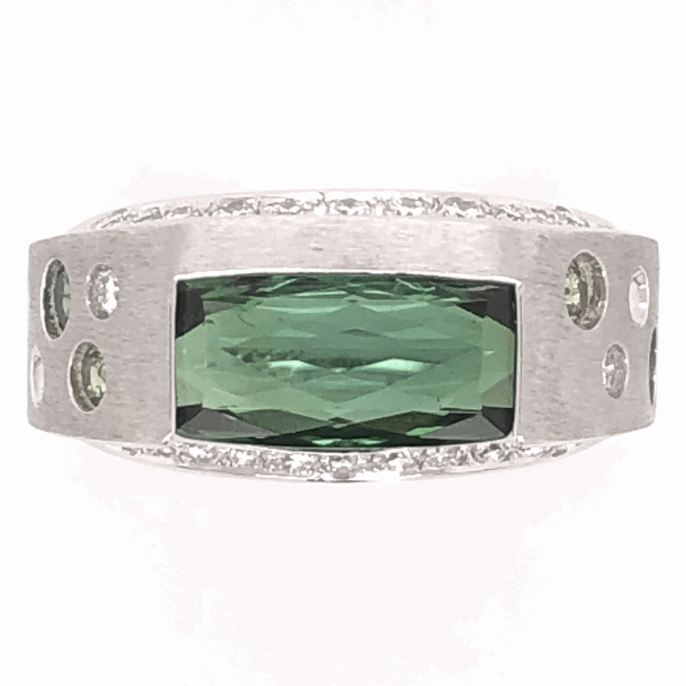 Image 2 for 18K White Gold Modern Design Ring 2.94ct Green Tourmaline .55tcw white & green Diamonds 11.4g, s5.75