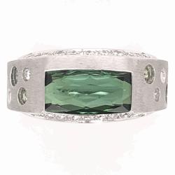 Closeup photo of 18K White Gold Modern Design Ring 2.94ct Green Tourmaline .55tcw white & green Diamonds 11.4g, s5.75