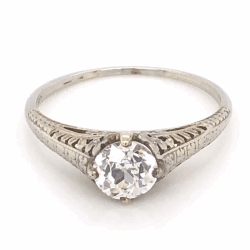 18K White Gold Art Deco .90ct Old European Cut Diamond Ring with Filigree 2.2g, s8