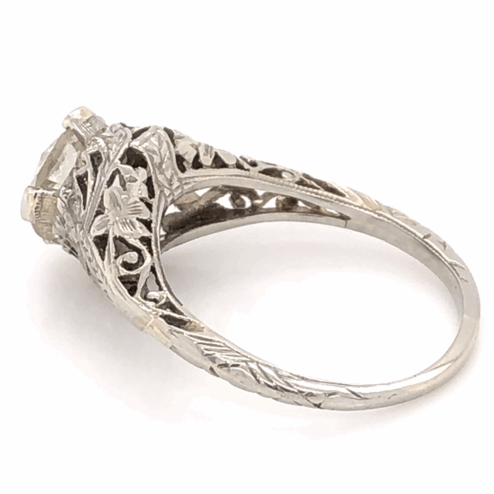 Image 2 for 18K White Gold Art Deco 1.58ct OEC Diamond Filigree Ring 3.1g, s6