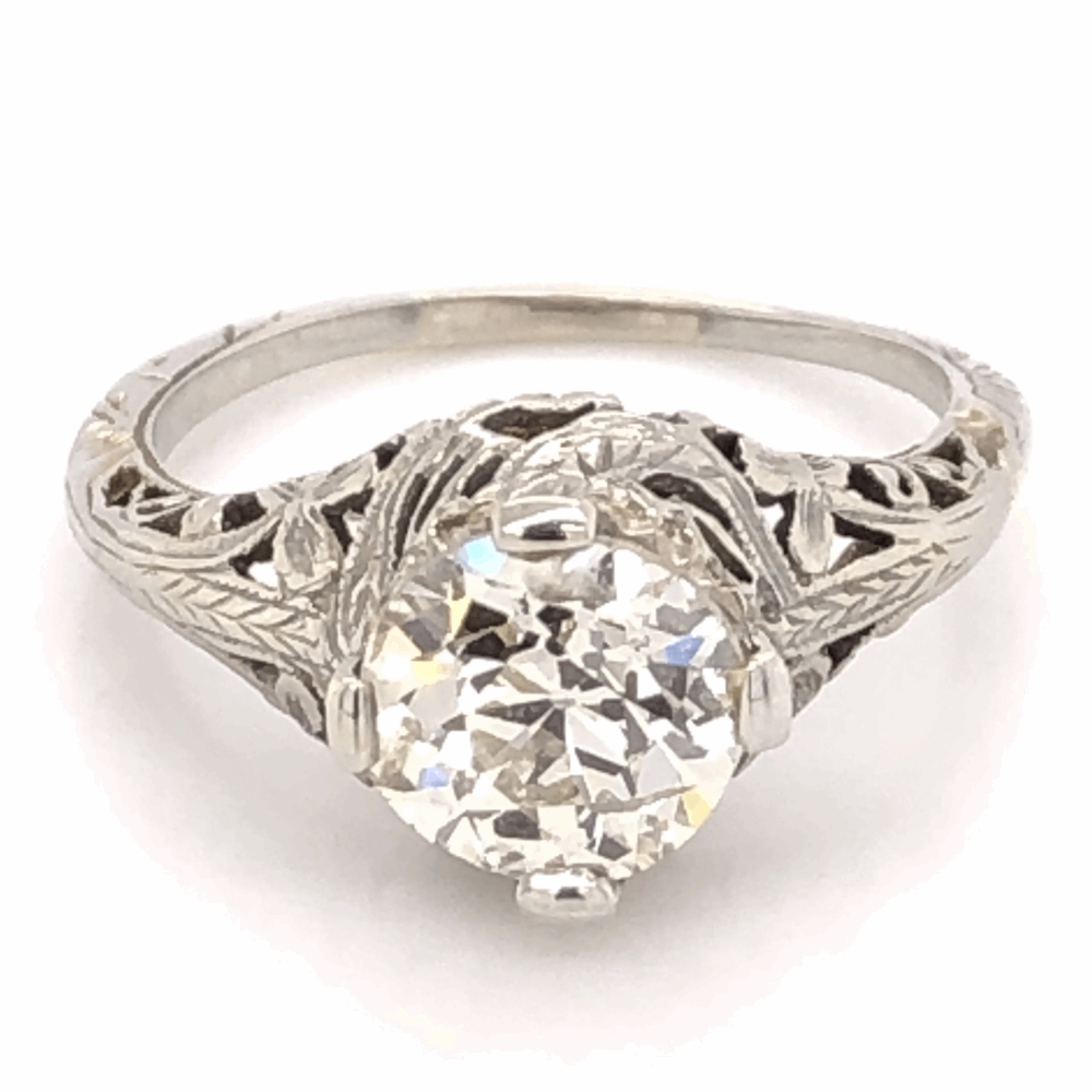 18K White Gold Art Deco 1.58ct OEC Diamond Filigree Ring 3.1g, s6