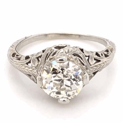 Closeup photo of 18K White Gold Art Deco 1.58ct OEC Diamond Filigree Ring 3.1g, s6