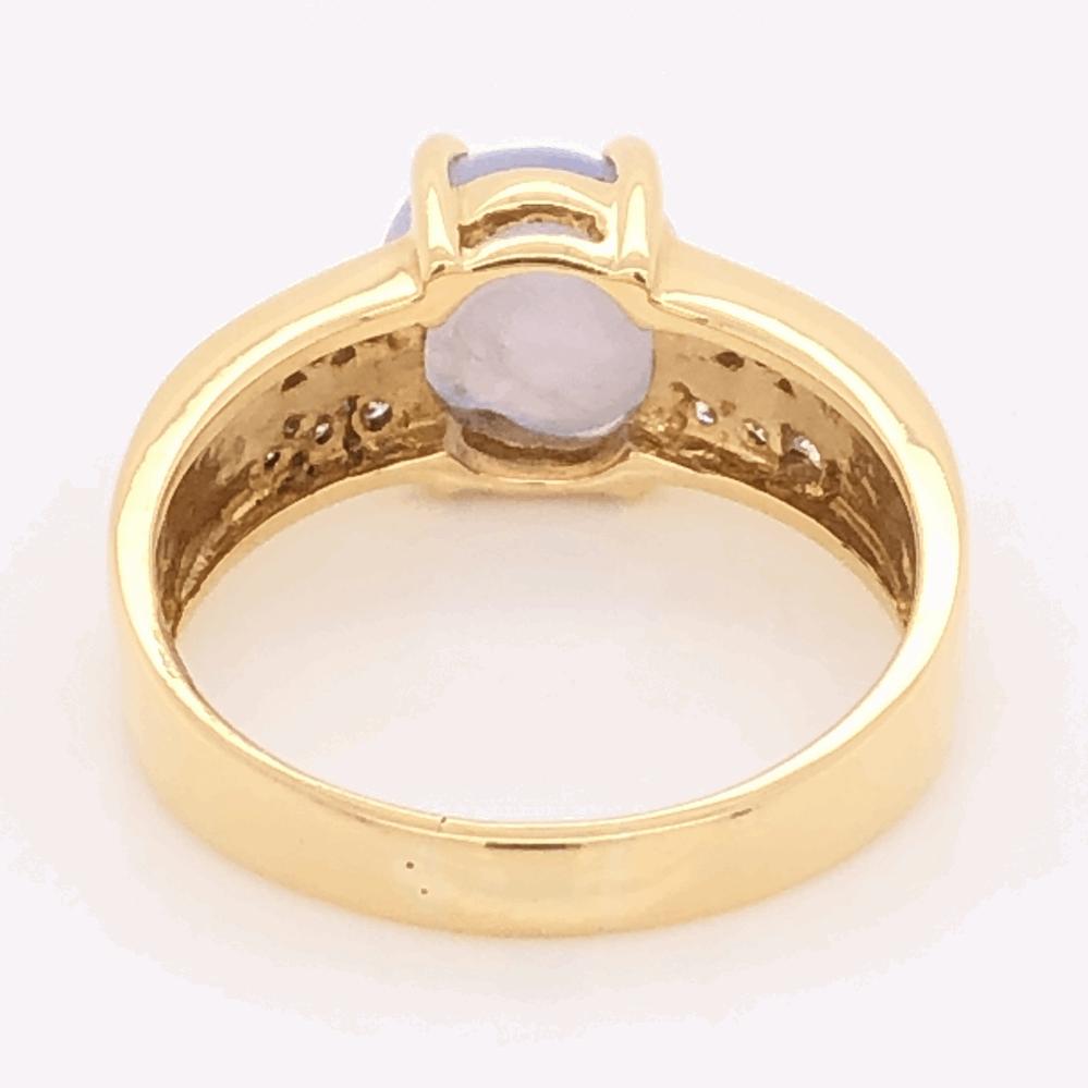 Image 2 for 18K Yellow Gold 4.75ct Light Blue Star Sapphire & .36tcw Diamond Ring 7.8g, s9.5