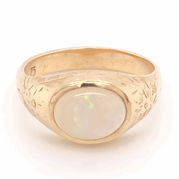 Closeup photo of 10K Yellow Gold Mens Engraved Australian 2.50ct White Opal Ring 6.8g, s9.25