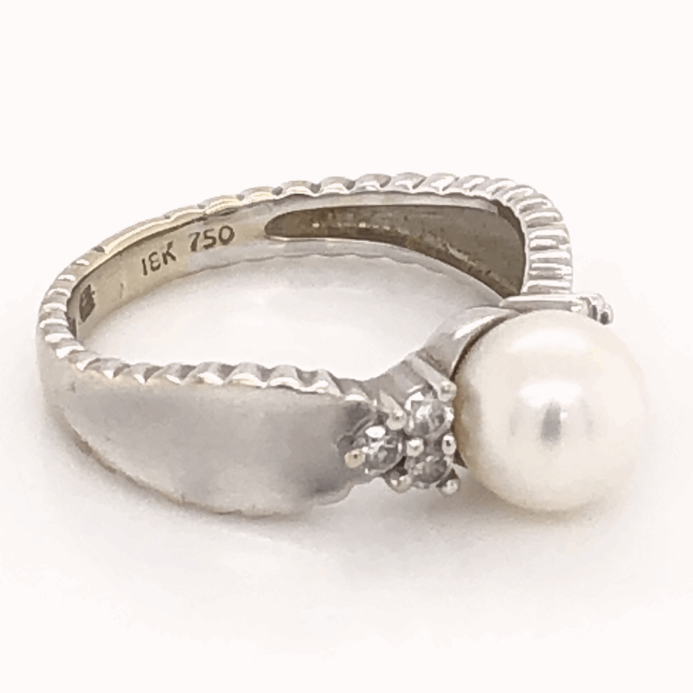Image 2 for 18K White Gold 6.75mm Pearl & .17tcw Diamond Ring 3.7g, s5.5