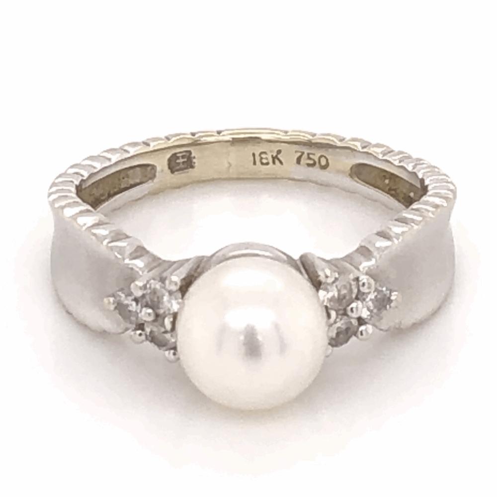 18K White Gold 6.75mm Pearl & .17tcw Diamond Ring 3.7g, s5.5