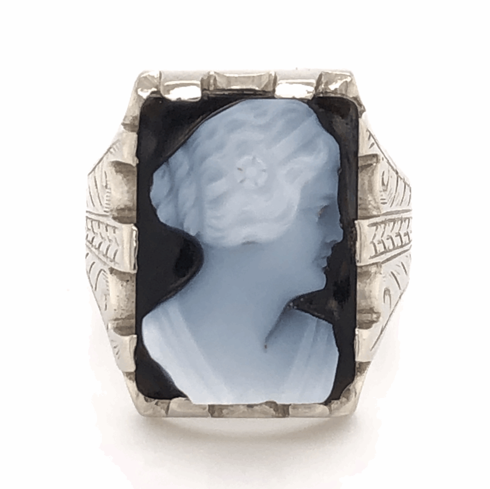 14K White Gold Sardonyx Cameo Mens Ring with engraving 8.9g, s9.25