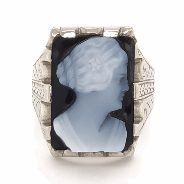 Closeup photo of 14K White Gold Sardonyx Cameo Mens Ring with engraving 8.9g, s9.25