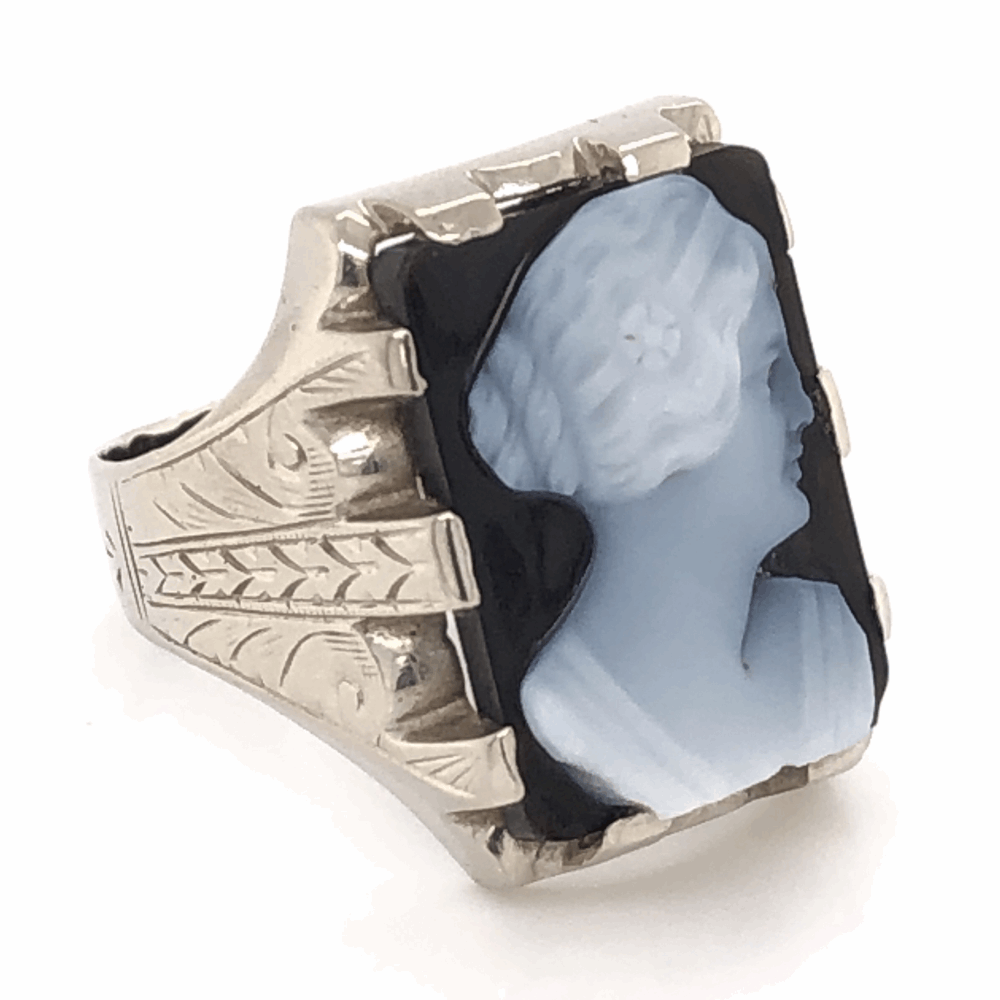 Image 2 for 14K White Gold Sardonyx Cameo Mens Ring with engraving 8.9g, s9.25