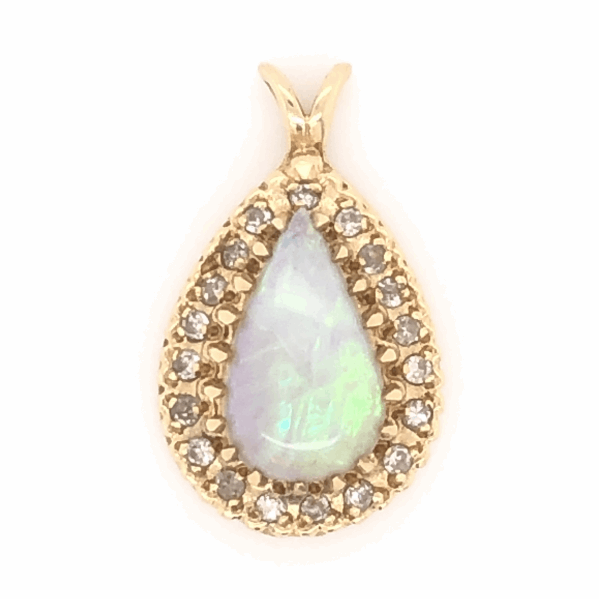 "Closeup photo of 14K Yellow Gold 3ct Pear Shaped Opal & .38tcw Diamond Pendant 3.2g, 7/8"" Tall"