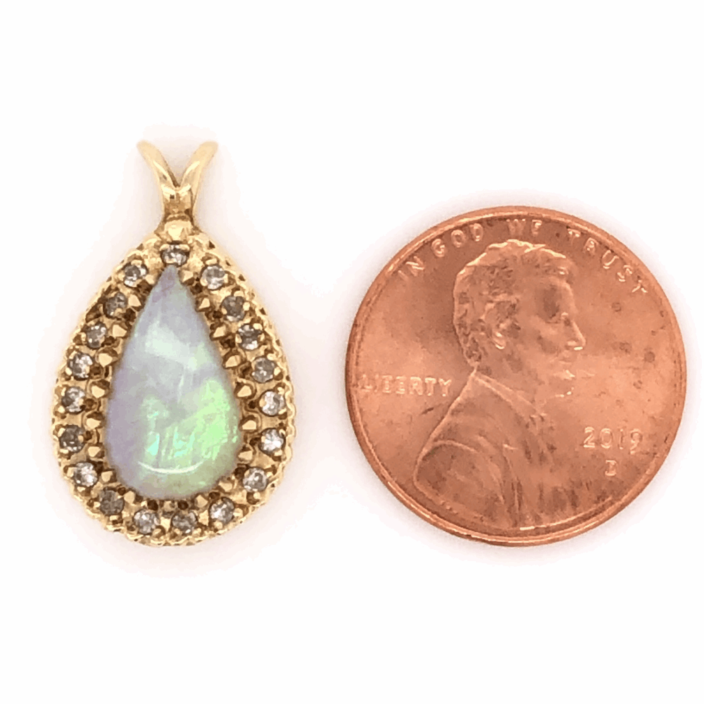 """Image 2 for 14K Yellow Gold 3ct Pear Shaped Opal & .38tcw Diamond Pendant 3.2g, 7/8"""" Tall"""