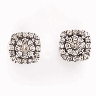 "Closeup photo of 14K White Gold GABRIEL & CO Cluster Diamond Stud Earrings .65tcw 3.1g, 5/16"" Square"