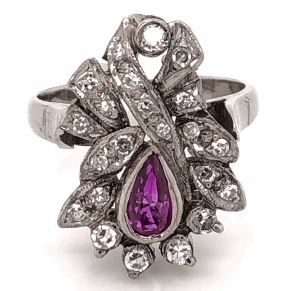 Closeup photo of Palladium Topped 925 Sterling Silver Art Deco .30ct Pear Shape Ruby & .40tcw Diamond Ring 4.8g, s5.25