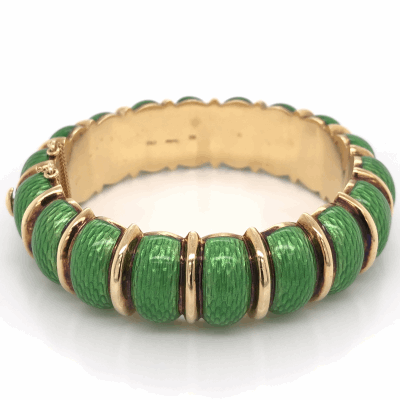 Closeup photo of 18K Yellow Gold Green Enamel Cuff Bracelet stamped CARTIER 85.2g