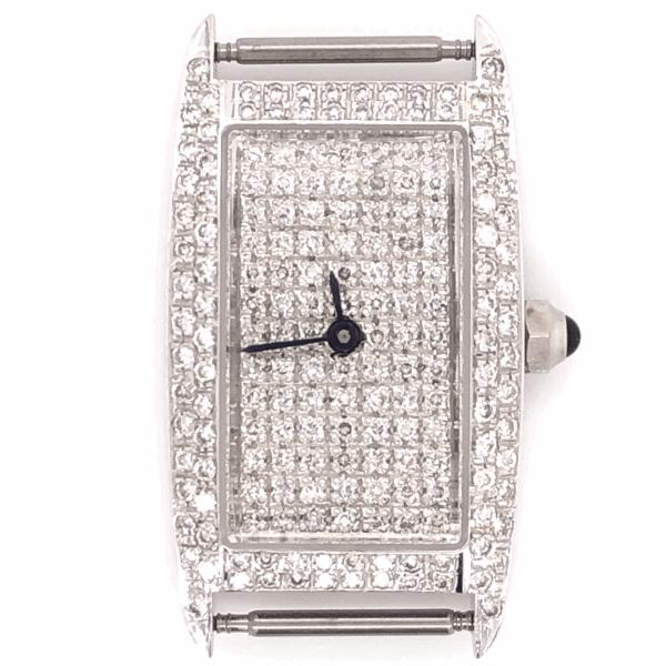 Closeup photo of 14K White Gold Italian White Diamond VICENCE Watch 2.25tcw 23.8g 35x23mm(with crown)