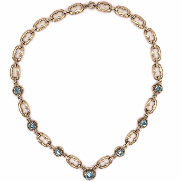 "Closeup photo of 14K Yellow Gold Retro 12tcw Blue Zircon Necklace 26.3g, 16"" Length"