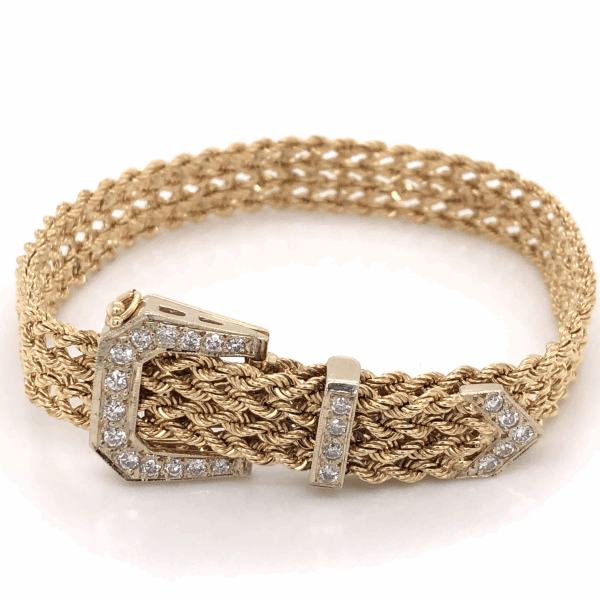 Closeup photo of 14K Yellow Gold Adjustable Diamond Buckle Bracelet .56tcw 22.6g, 6-7.5""