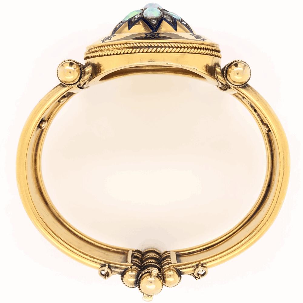 Image 2 for 18K Yellow Gold Victorian Diamond Enamel Large Bangle Bracelets 2.20tcw Opal, .70tcw Diamonds 64.6g