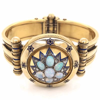 Closeup photo of 18K Yellow Gold Victorian Diamond Enamel Large Bangle Bracelets 2.20tcw Opal, .70tcw Diamonds 64.6g