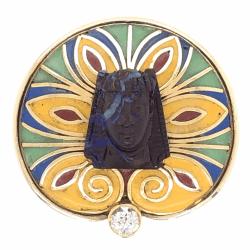 Closeup photo of 14K Yellow Gold KING TUT .12ct Diamond, Enamel & Carved Opal Ring 11.7g, c1970, s7