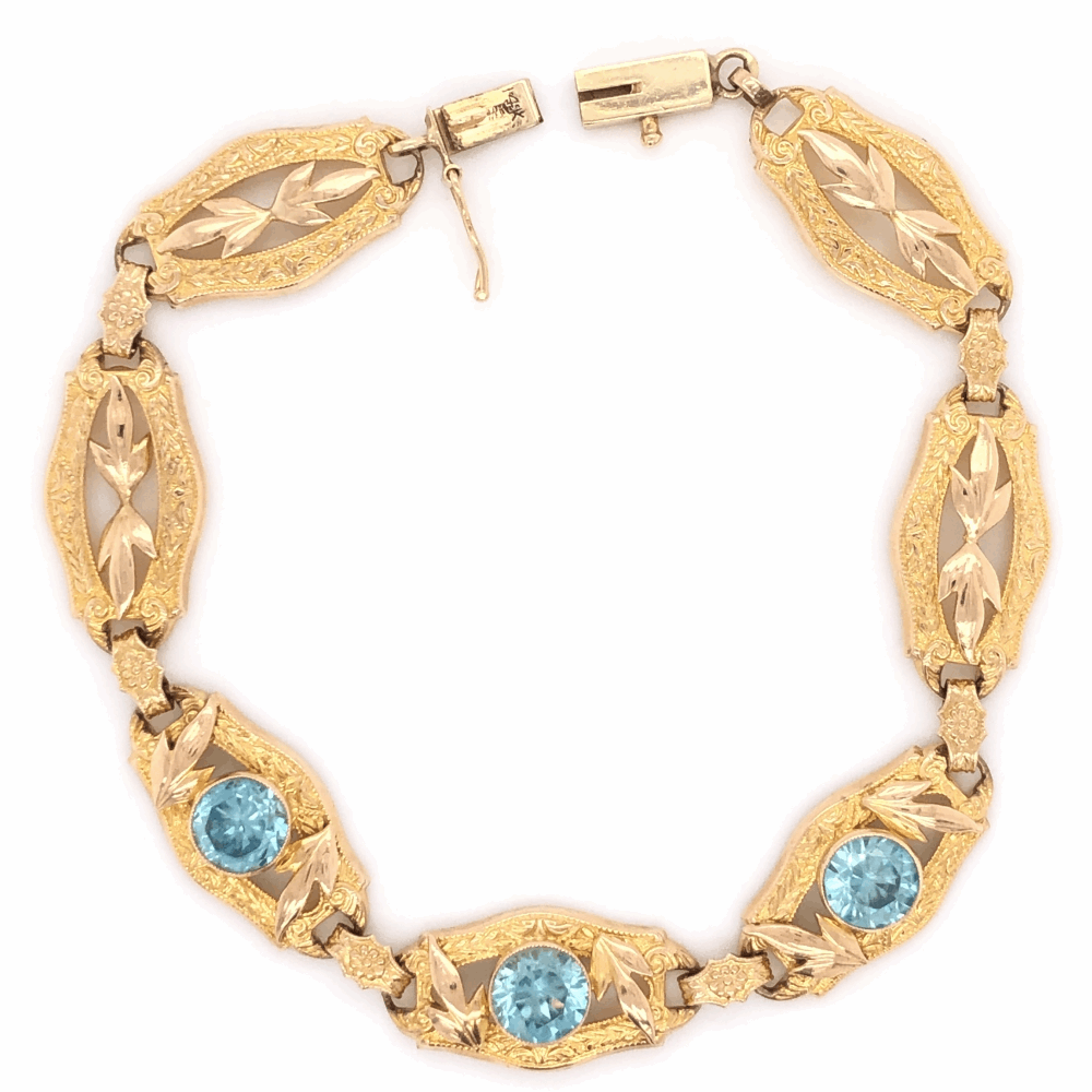 "Image 2 for 14K Yellow Gold Retro 4.50tcw Blue Zircon Bracelet 8.1g, 7"" Long"