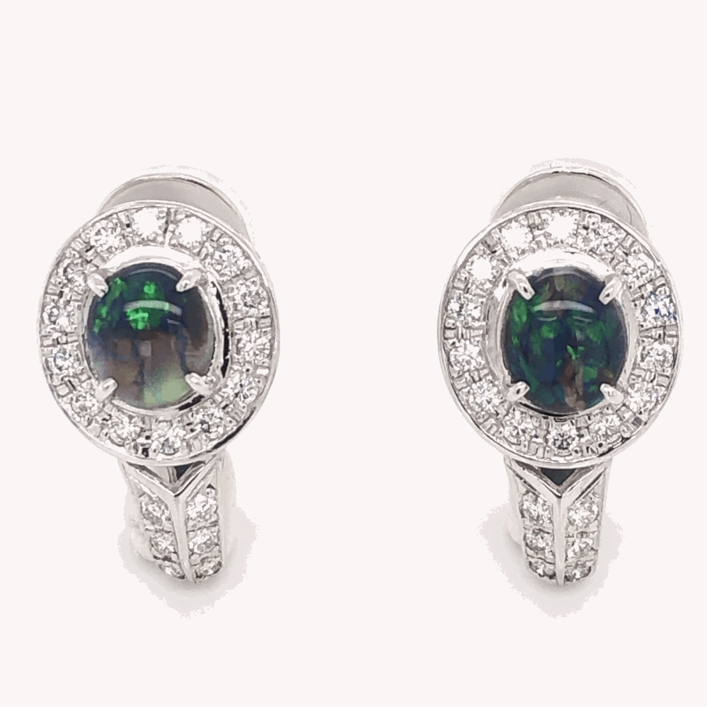 "Platinum & 14K White Gold 1.16tcw Black Opal & .56tcw Diamond Earrings 7.3g, .75"" Tall"