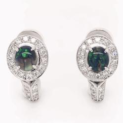 "Closeup photo of Platinum & 14K White Gold 1.16tcw Black Opal & .56tcw Diamond Earrings 7.3g, .75"" Tall"