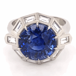 Closeup photo of Platinum 1950's 9.11ct Round Blue Sapphire & 1.75tcw White Baguette Diamond 10 sided 10.0g, s7