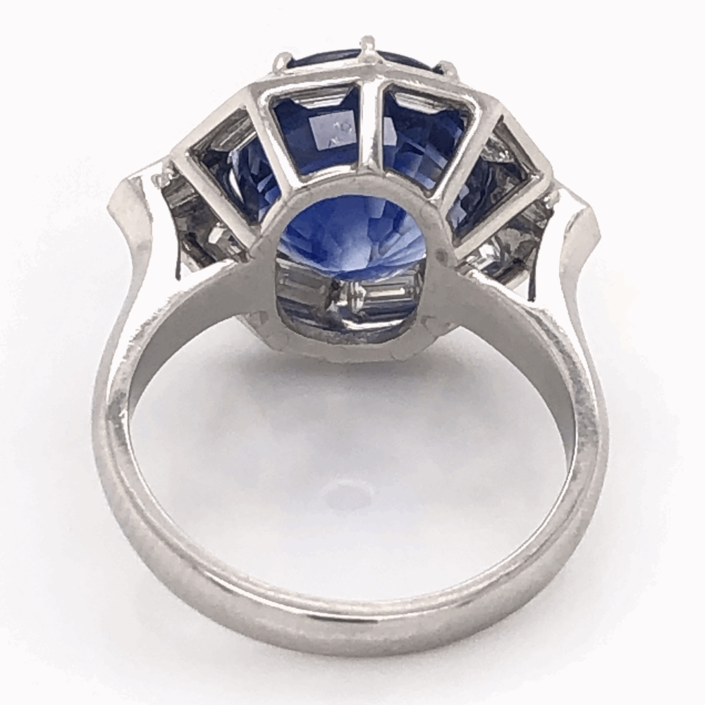 Image 2 for Platinum 1950's 9.11ct Round Blue Sapphire & 1.75tcw White Baguette Diamond 10 sided 10.0g, s7