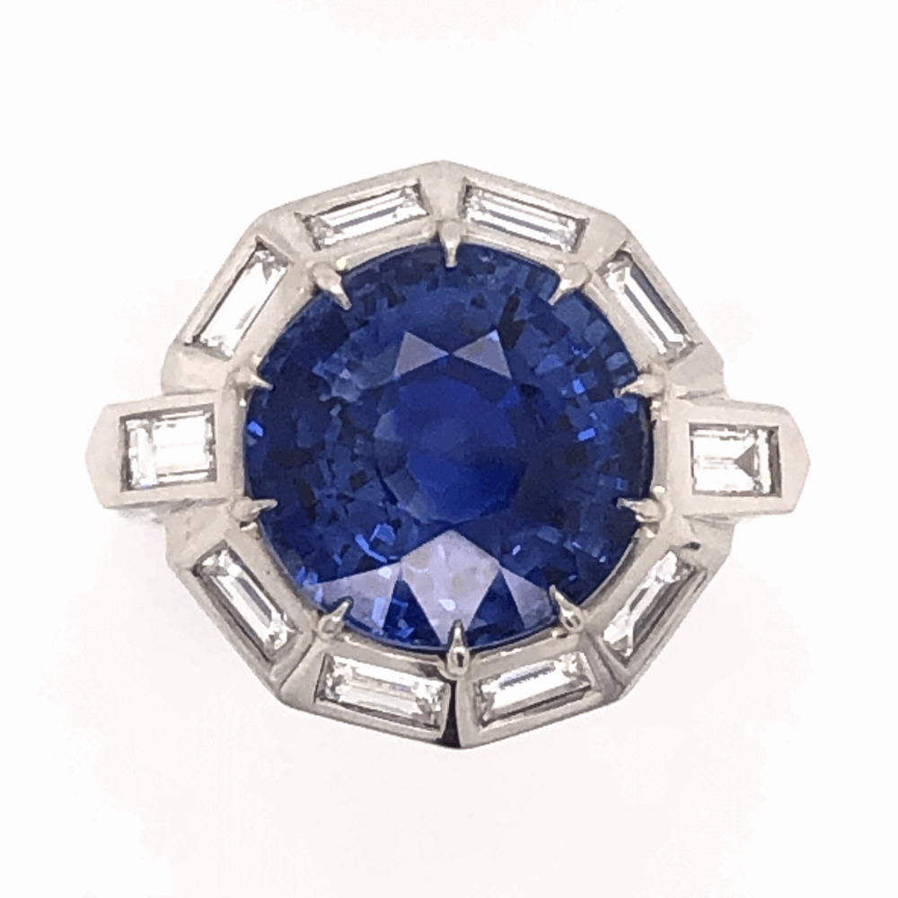 Platinum 1950's 9.11ct Round Blue Sapphire & 1.75tcw White Baguette Diamond 10 sided 10.0g, s7