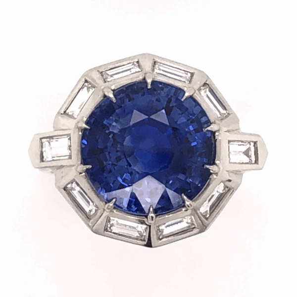 Closeup photo of Platinum 1950's 9.11ct Round Blue Sapphire & 1.75tcw White Baguette Diamond 10 sided 10.0g, s7