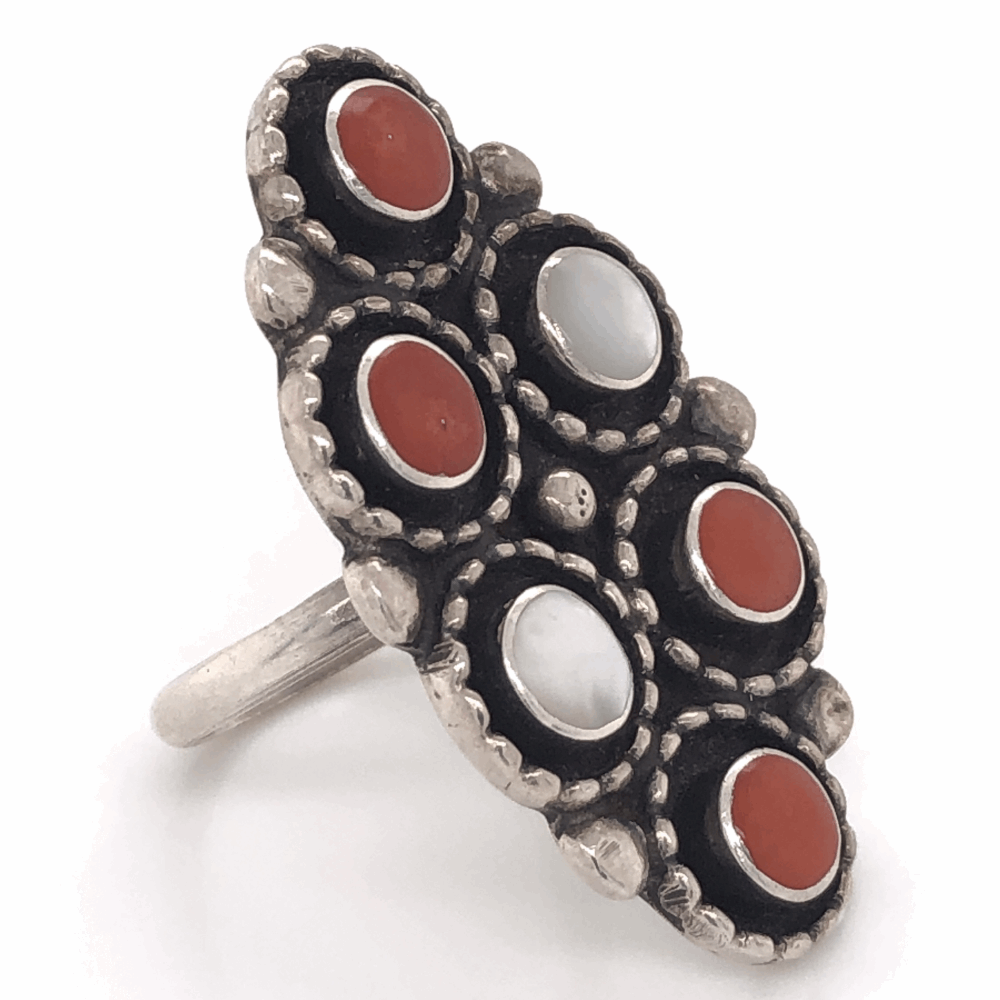 925 Sterling Vintage Native Mother of Pearl & Coral Ring 8.8g signed L.M.S. s7.75