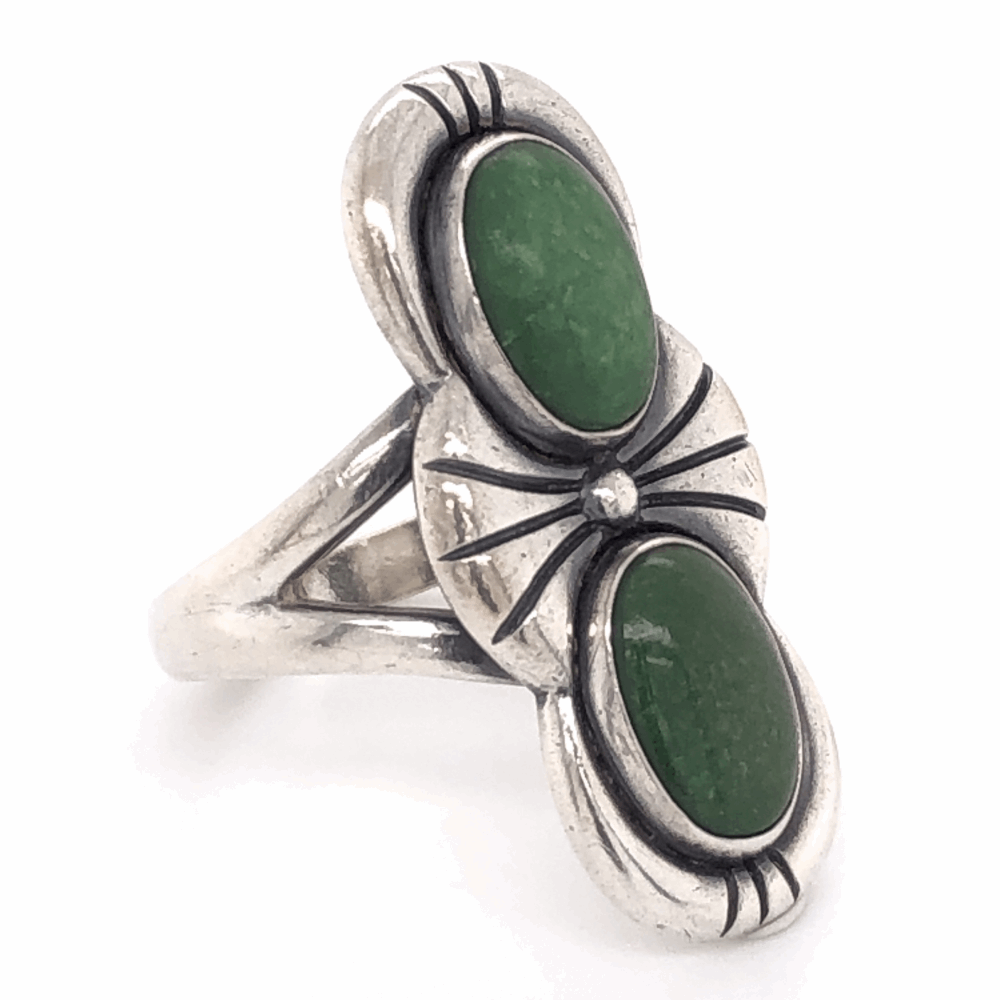 """925 Sterling Vintage Native 2 Green Stone Ring 6.6g, s7.25 1 1/8"""" Long"""
