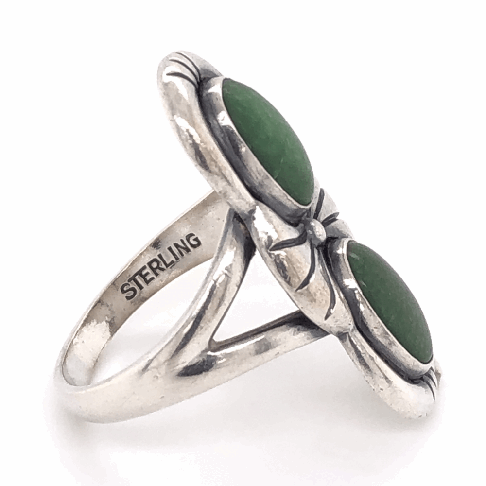 """Image 2 for 925 Sterling Vintage Native 2 Green Stone Ring 6.6g, s7.25 1 1/8"""" Long"""