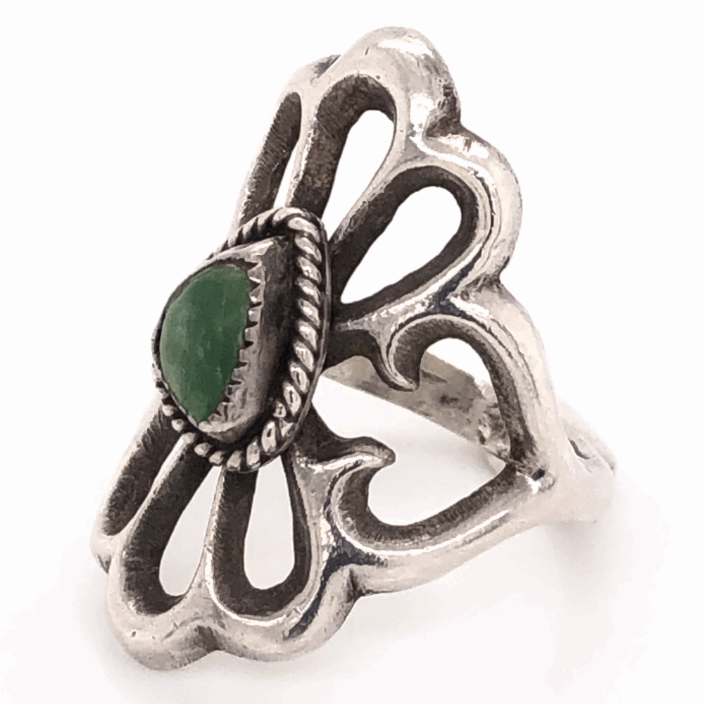 """Image 2 for 925 Sterling Vintage Native Sand Cast Green Turquoise Ring 6.3g, s7 1 1/8"""" Long"""