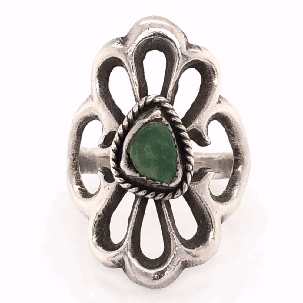 """925 Sterling Vintage Native Sand Cast Green Turquoise Ring 6.3g, s7 1 1/8"""" Long"""
