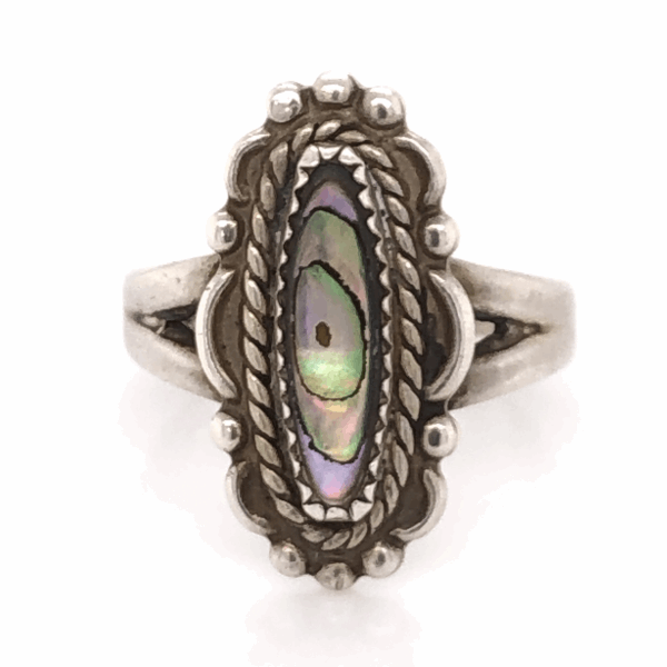 Closeup photo of 925 Sterling Vintage Native Navette Shaped Abalone Ring 3.9g, s6.5