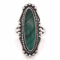 """Closeup photo of 925 Sterling Vintage Native Navette Malachite Ring 8.3g, s6.5, 1.25"""" Long"""