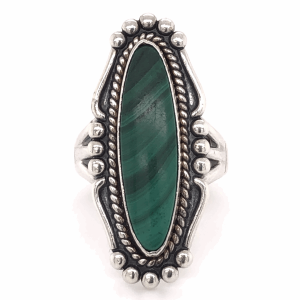"Closeup photo of 925 Sterling Vintage Native Navette Malachite Ring 8.3g, s6.5, 1.25"" Long"