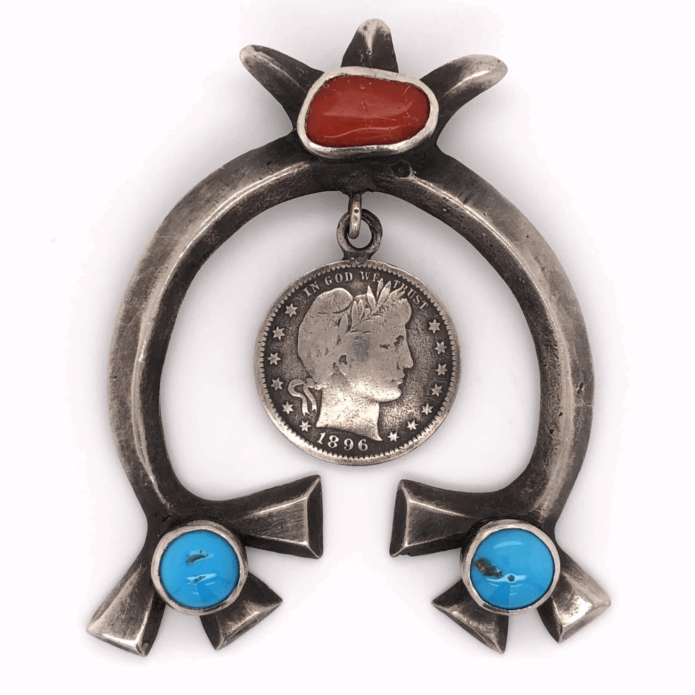"""925 Sterling Native Coral & Turquoise Pendant with 1896 US Quarter 40.4g, 3"""" Tall"""