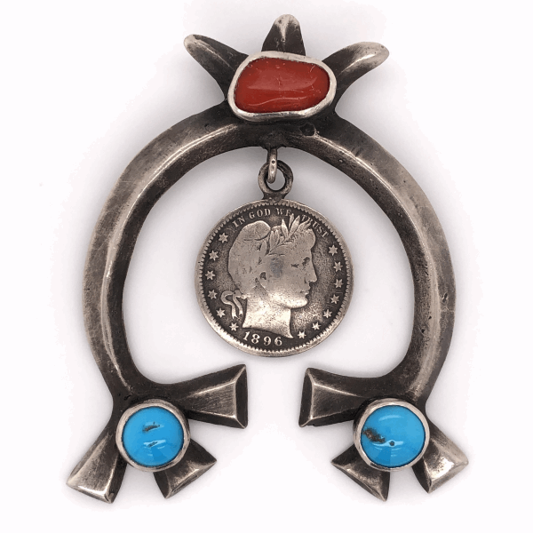 "Closeup photo of 925 Sterling Native Coral & Turquoise Pendant with 1896 US Quarter 40.4g, 3"" Tall"