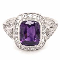 Platinum Art Deco 2.12ct Cushion Purple Sapphire & .50tcw Diamond Ring4.7g, s6.75