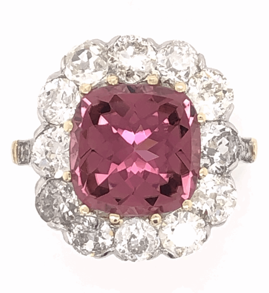 Platinum on 18K Yellow Gold Edwardian 3.65 Rubellite Tourmaline & 2.70tcw Diamond Ring 6.2g, s6.75
