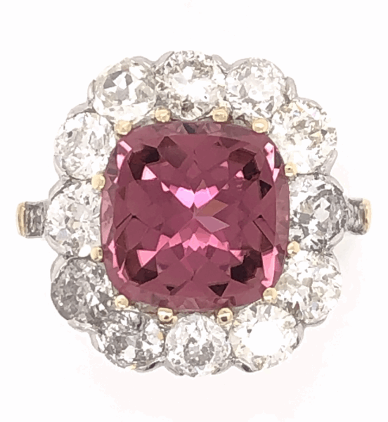 Closeup photo of Platinum on 18K Yellow Gold Edwardian 3.65 Rubellite Tourmaline & 2.70tcw Diamond Ring 6.2g, s6.75