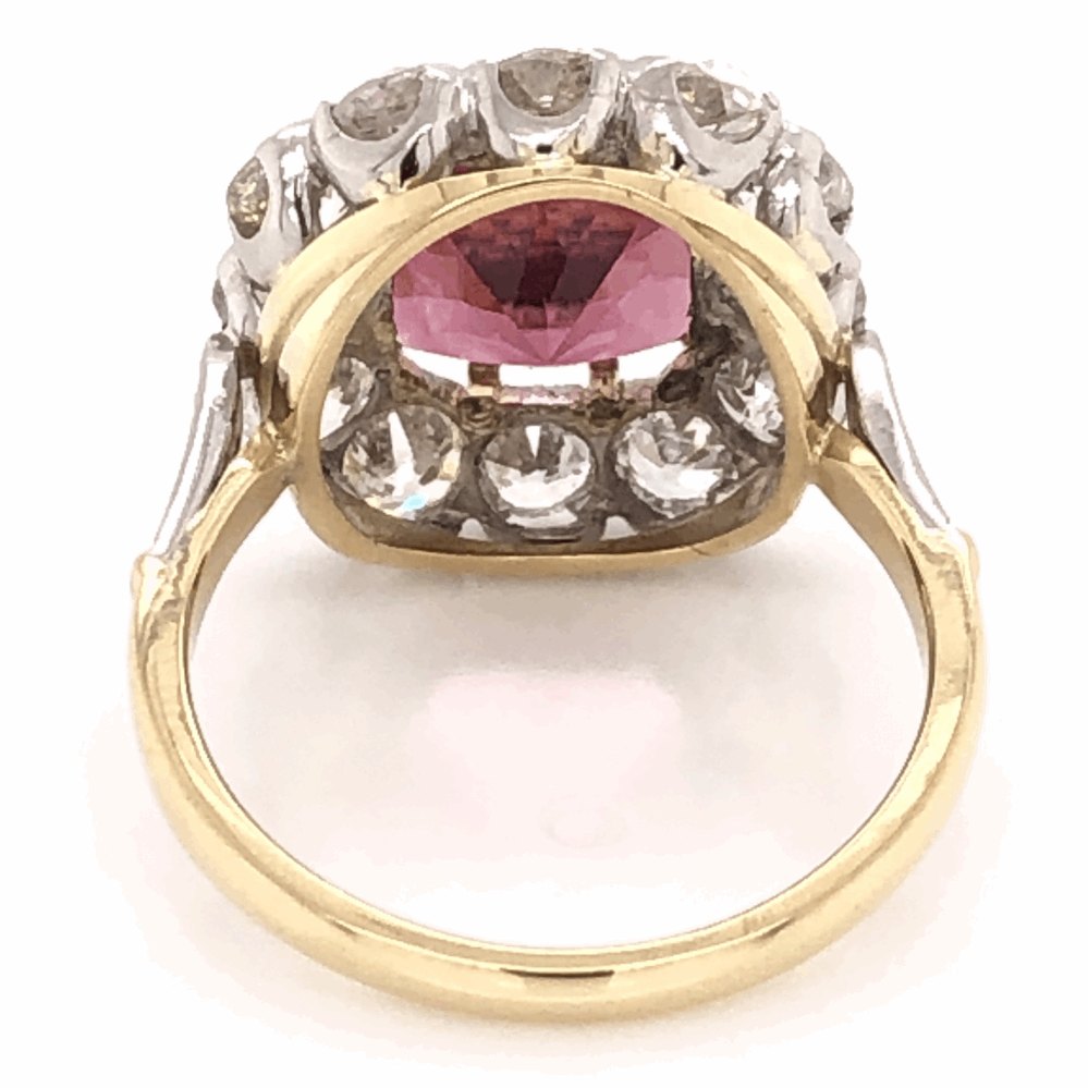 Image 2 for Platinum on 18K Yellow Gold Edwardian 3.65 Rubellite Tourmaline & 2.70tcw Diamond Ring 6.2g, s6.75