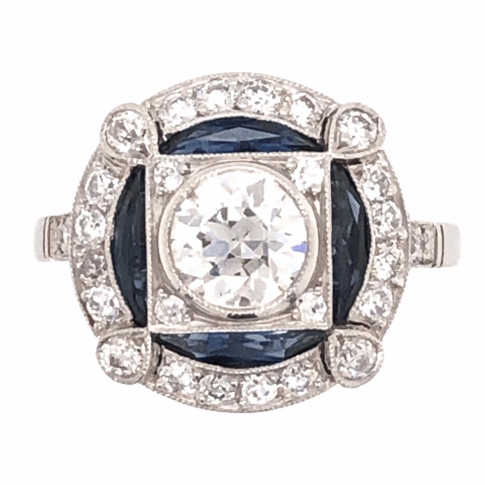 Platinum Art Deco .75ct Old European Cut Diamond & .58tcw Sapphire Ring with .39tcw Side Diamonds 5.4g, s7