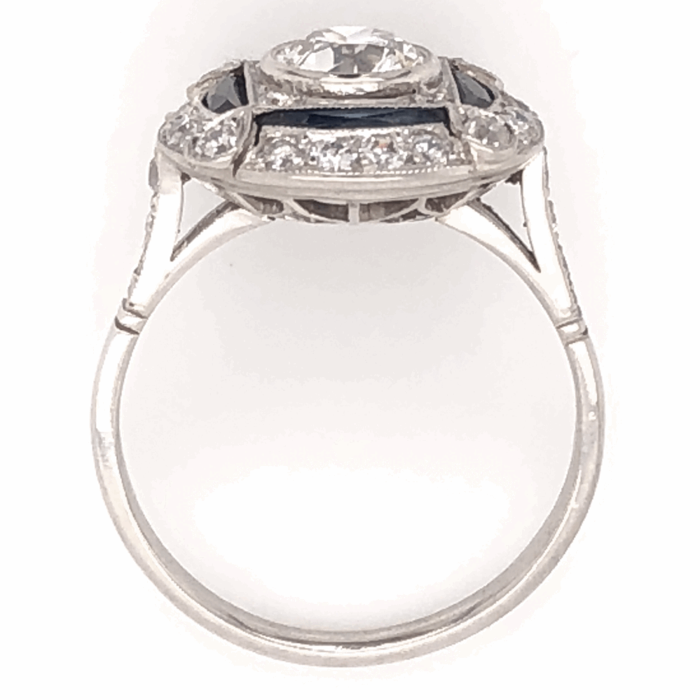 Image 2 for Platinum Art Deco .75ct Old European Cut Diamond & .58tcw Sapphire Ring with .39tcw Side Diamonds 5.4g, s7