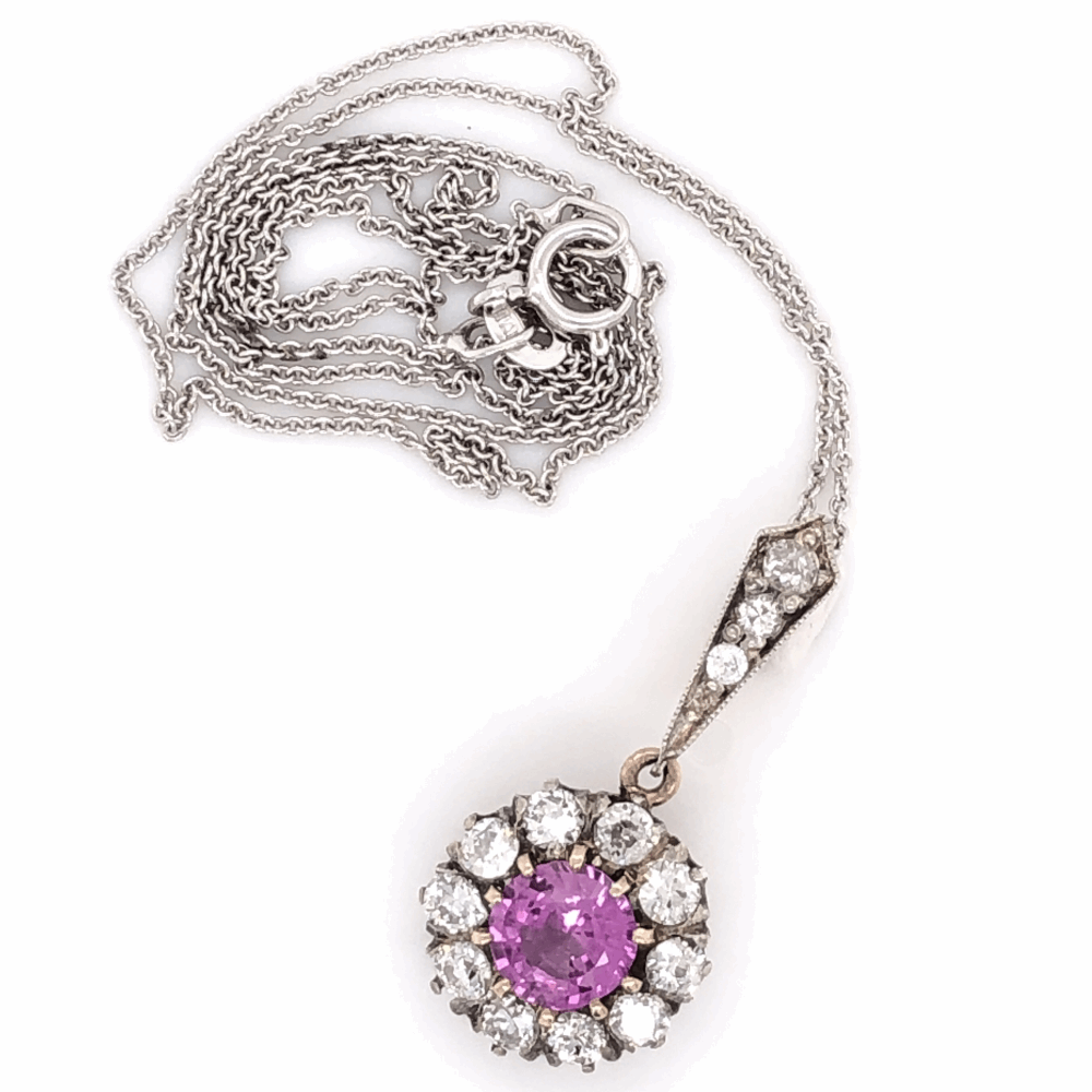 """Image 2 for Platinum topped 14K Yellow Gold Edwardian 1.03ct Round Pink Sapphire & .75tcw Diamond Pendant Necklace 2.6g, 16"""" Chain"""