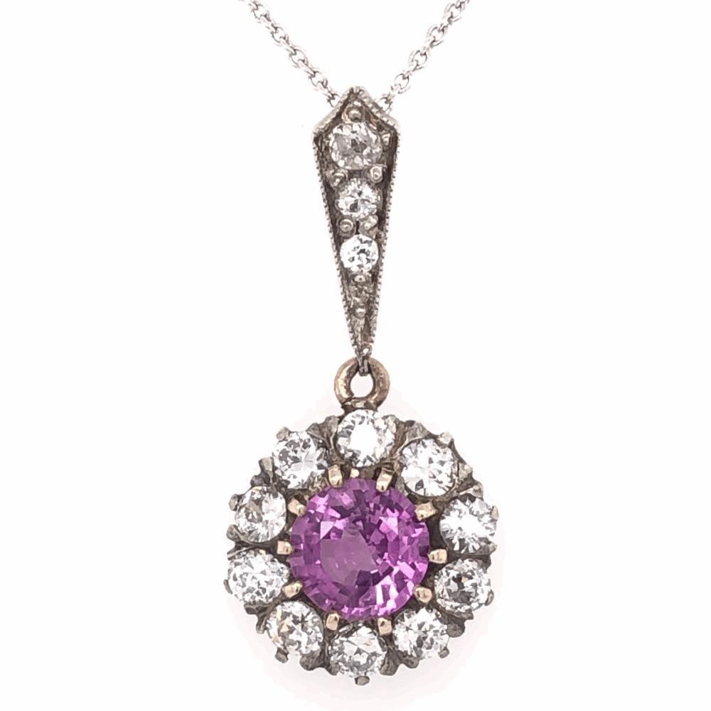 "Platinum topped 14K Yellow Gold Edwardian 1.03ct Round Pink Sapphire & .75tcw Diamond Pendant Necklace 2.6g, 16"" Chain"